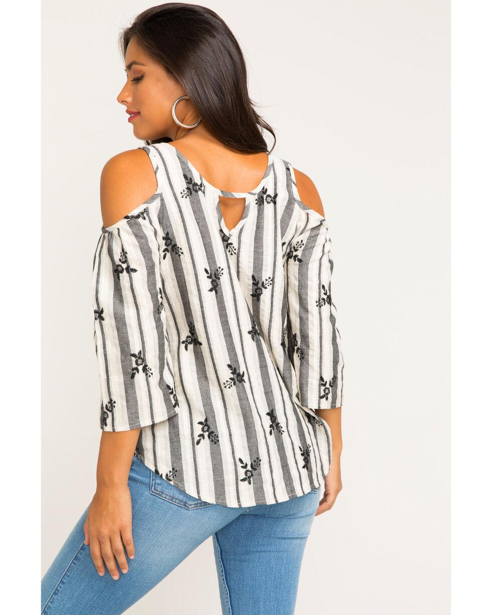 Luna Chix Women's Gray Striped Cold Shoulder Top , Grey, hi-res