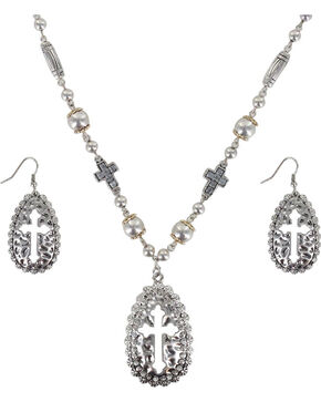 Shyanne Women's Cut-out Cross Jewelry Set, Silver, hi-res