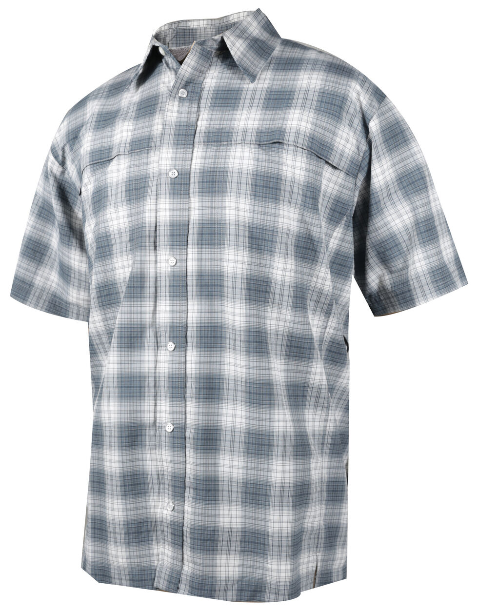 Tru-Spec Men's Grey Plaid 24-7 Cool Camp Shirt , Grey, hi-res