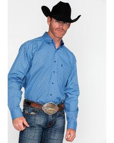 Tuf Cooper Men's Competition Geo Poplin Print Long Sleeve Western Shirt  , Blue, hi-res