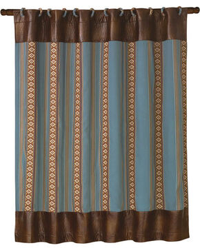 HiEnd Accents Ruidoso Blue Striped Shower Curtain, Multi, hi-res