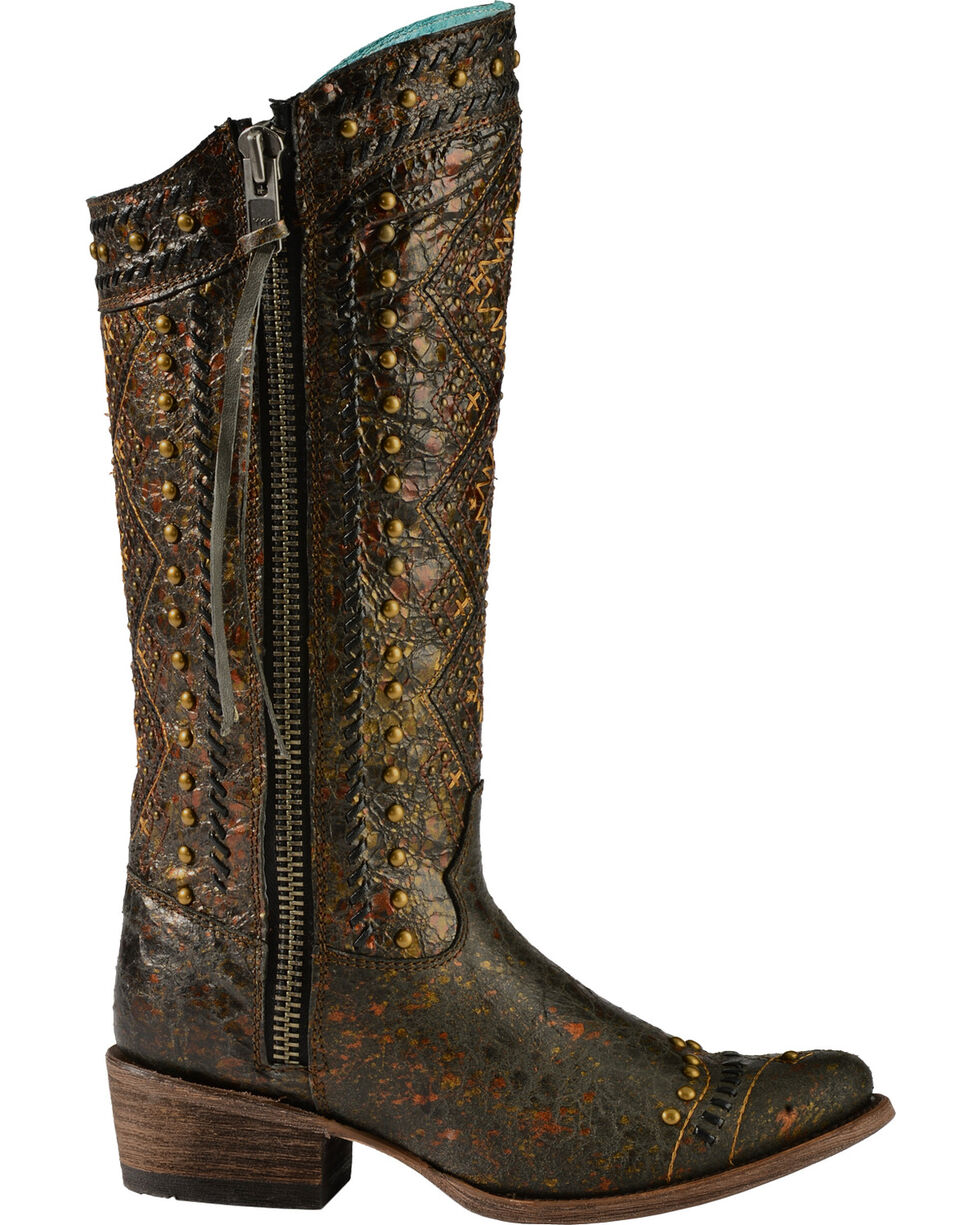 Corral Distressed Aztec Studded Cowgirl Boots - Round Toe, Brown, hi-res
