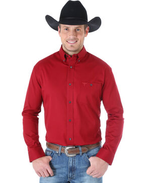 Wrangler Men's 20X Advanced Comfort Solid Burgundy Western Shirt , Burgundy, hi-res