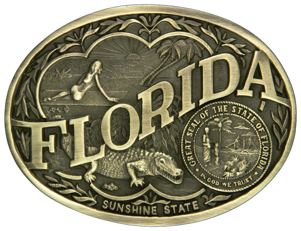 Montana Silversmiths Florida State Heritage Attitude Belt Buckle, Gold, hi-res