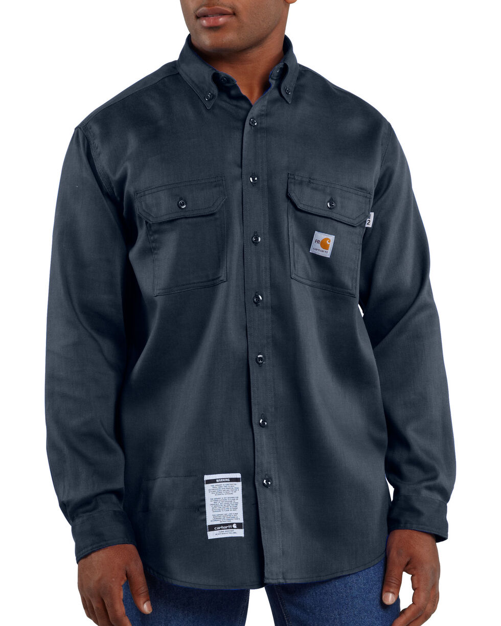Carhartt Flame Resistant Dry Twill Work Shirt, Navy, hi-res
