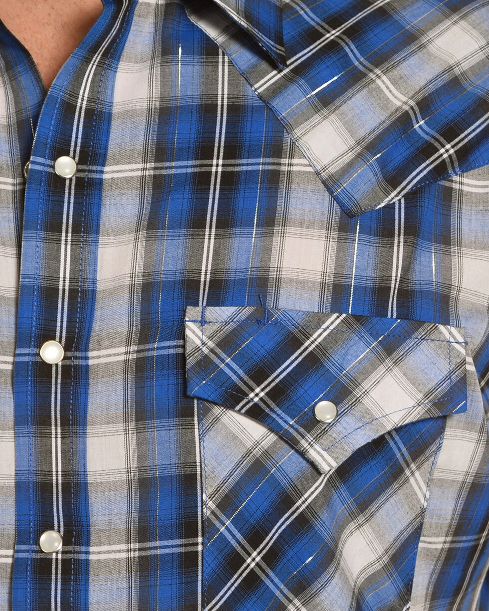Ely Cattleman Men's Dark Blue Lurex Plaid Shirt , Blue, hi-res