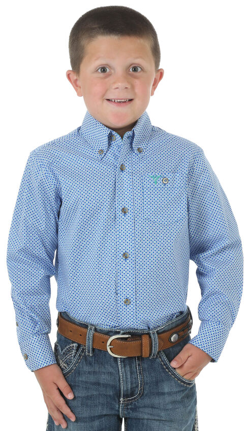 Wrangler 20X Boys' Blue Plaid Long Sleeve Shirt, , hi-res