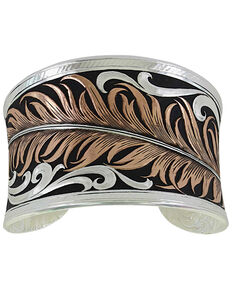 Montana Silversmiths Women's Hope's Feather Bracelet , Silver, hi-res