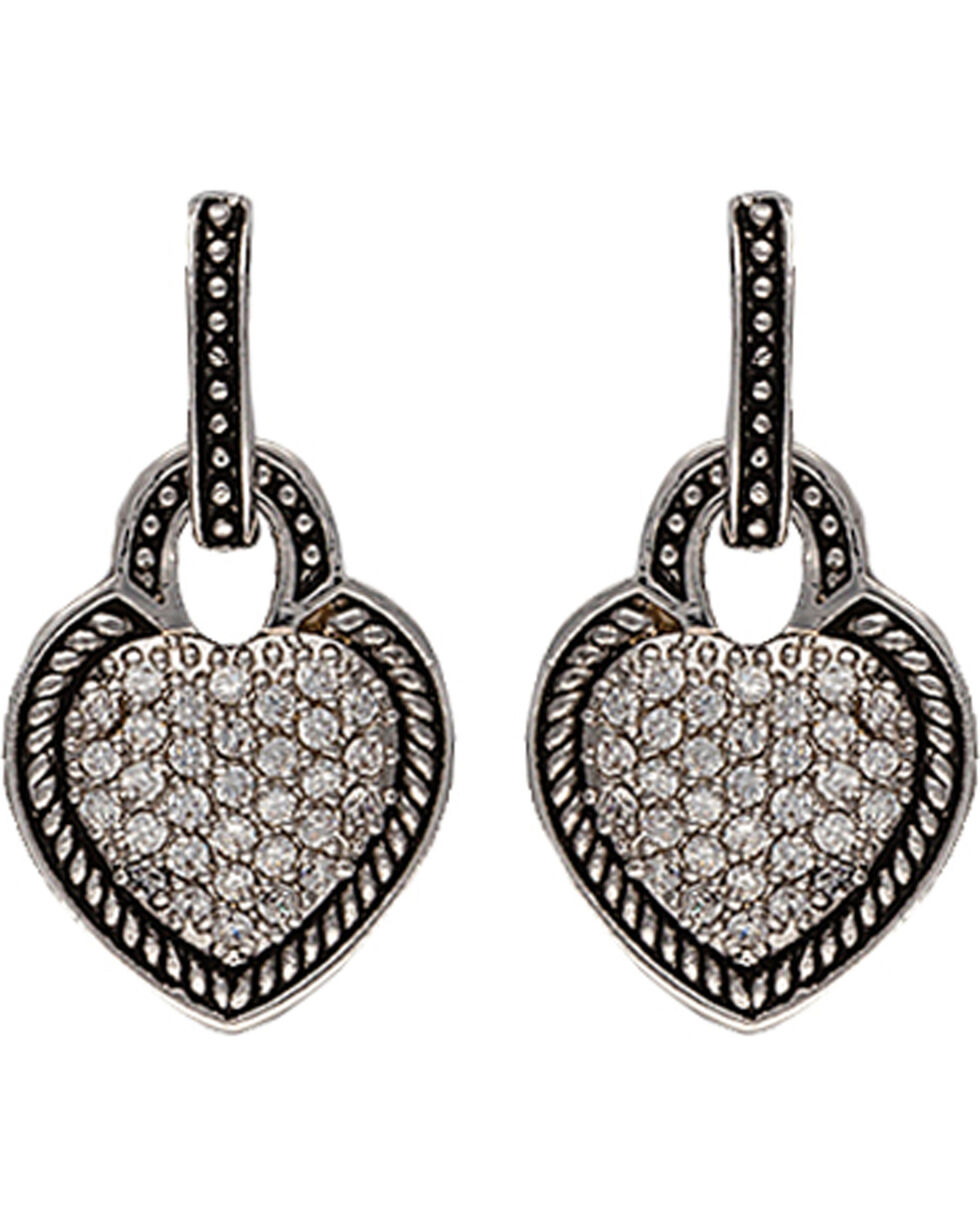 Montana Silversmtihs Beaded Pave Heart Earrings, Silver, hi-res