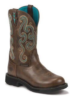 Justin Gypsy Swirling Stitch Cowgirl Waterproof Work Boots - Round Toe, Chocolate, hi-res