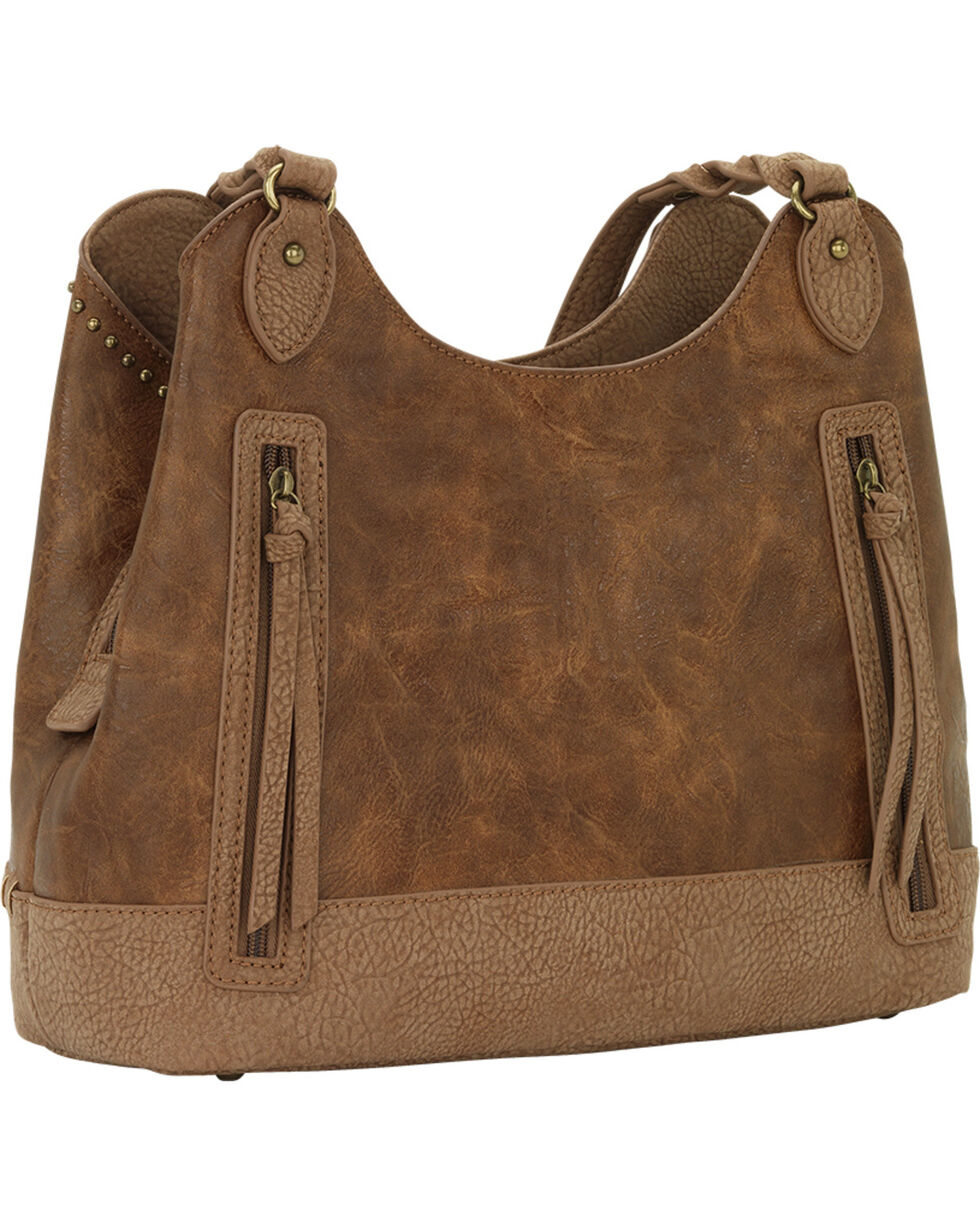 Bandana by American West Women's Guns and Roses Three Compartment Tote, Medium Brown, hi-res