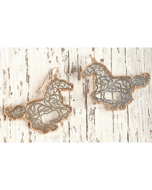 Shyanne Women's Silver and Gold Filigree Horse Earrings, Silver, hi-res