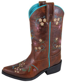 Smoky Mountain Youth Girls' Florence Embroidered Western Boots - Snip Toe, Brown, hi-res