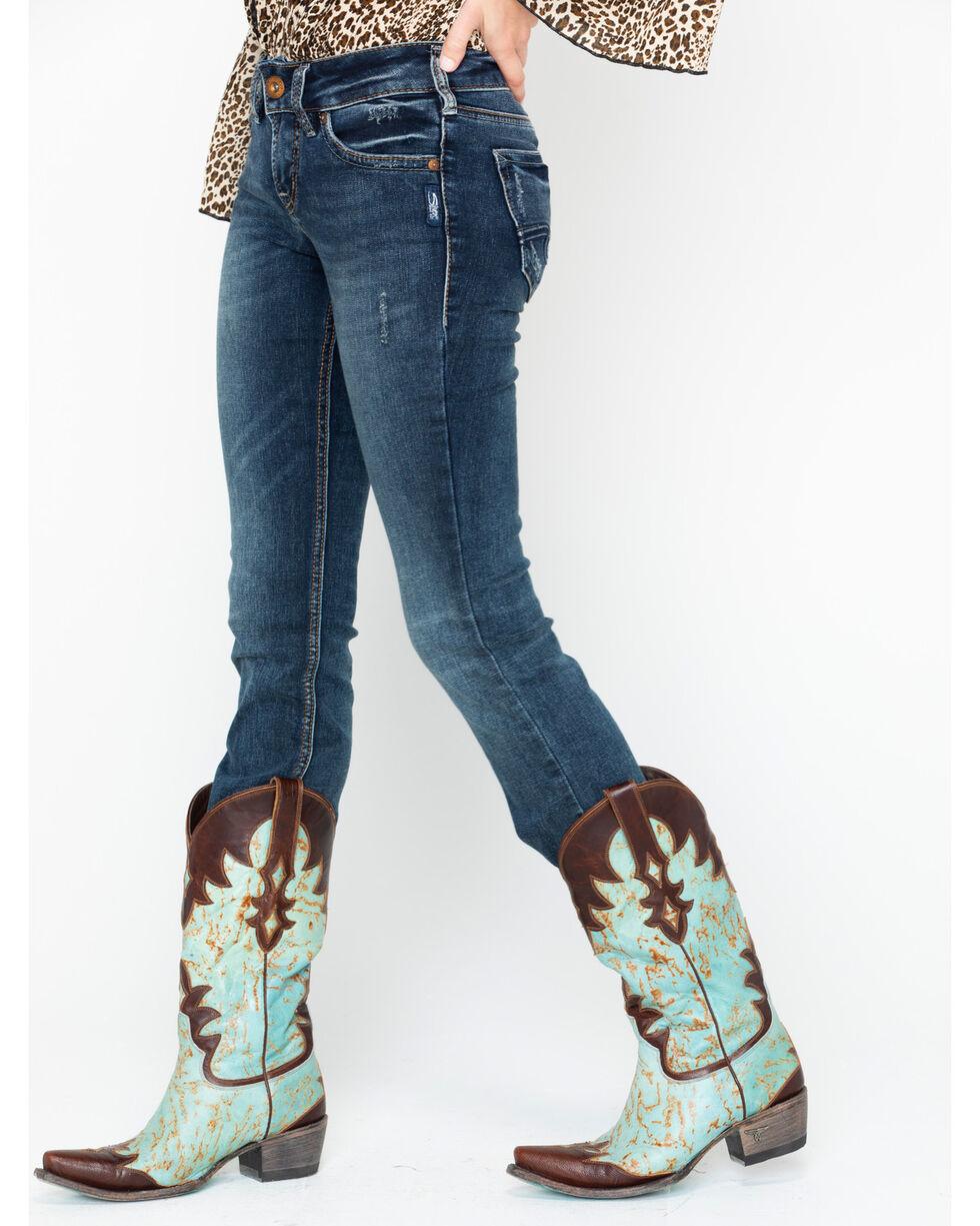 Silver Women's Suki Dark Wash Slim Boot Jeans , Dark Blue, hi-res