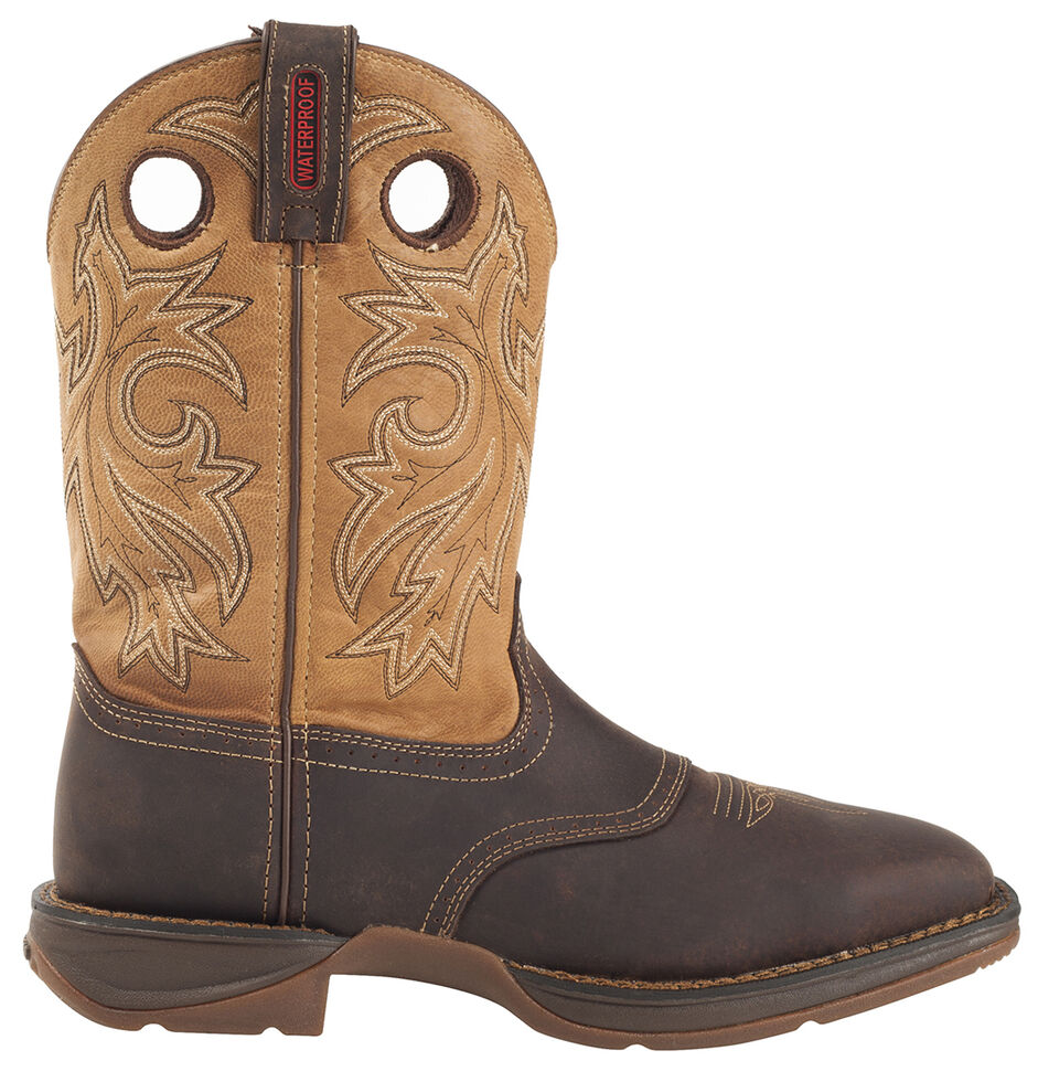 Durango Rebel Men's Waterproof Western Boots - Steel Toe, Brown, hi-res