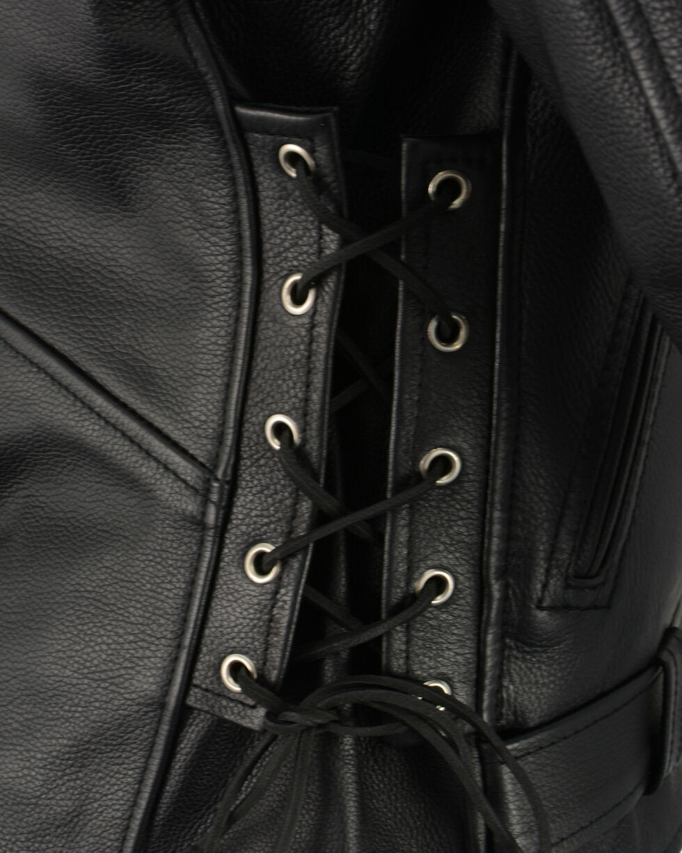 Milwaukee Leather Men's Classic Side Lace Concealed Carry Motorcycle Jacket - 3X, Black, hi-res
