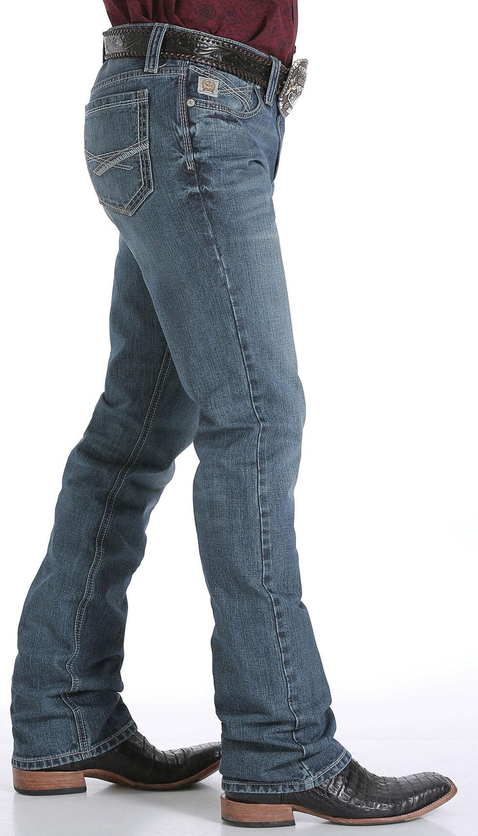 Cinch Men's Ian Mid Rise Cross Stitch Slim Boot Cut Jeans, Indigo, hi-res
