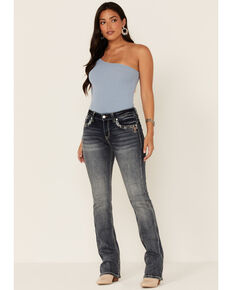 Grace In LA Women's Mid Rise Bootcut Aztec Pocket Jeans , Blue, hi-res