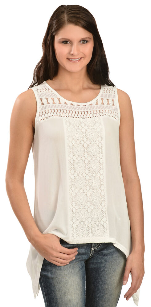 Wrangler Women's Sleeveless Lace Top, Cream, hi-res