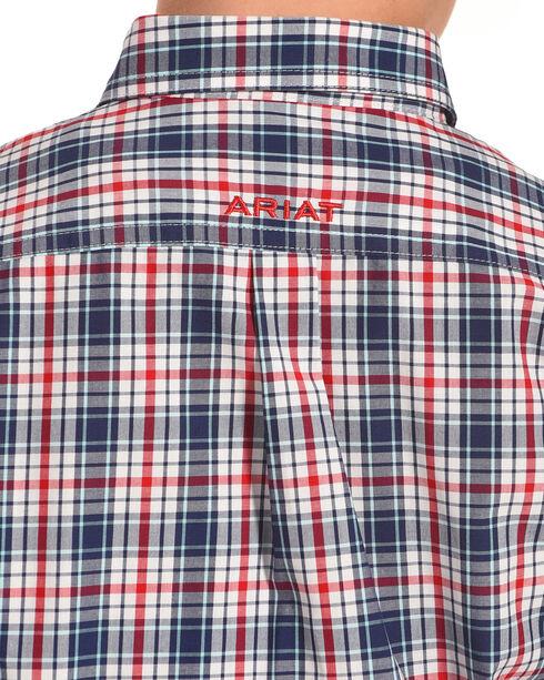 Ariat Boys' Gerald Plaid Short Sleeve Shirt , Blue, hi-res