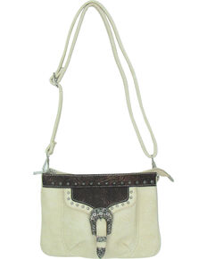 Savana Women's Faux Leather Distressed Crossbody Bag , Cream, hi-res