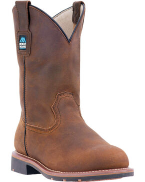 "McRae Men's 11"" Electrical Hazard Pull On Work Boot - Steel Toe, Brown, hi-res"