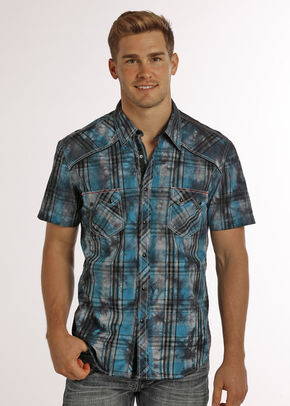 Rock & Roll Cowboy Men's Black Spray Wash Short Sleeve Plaid Shirt , Black, hi-res