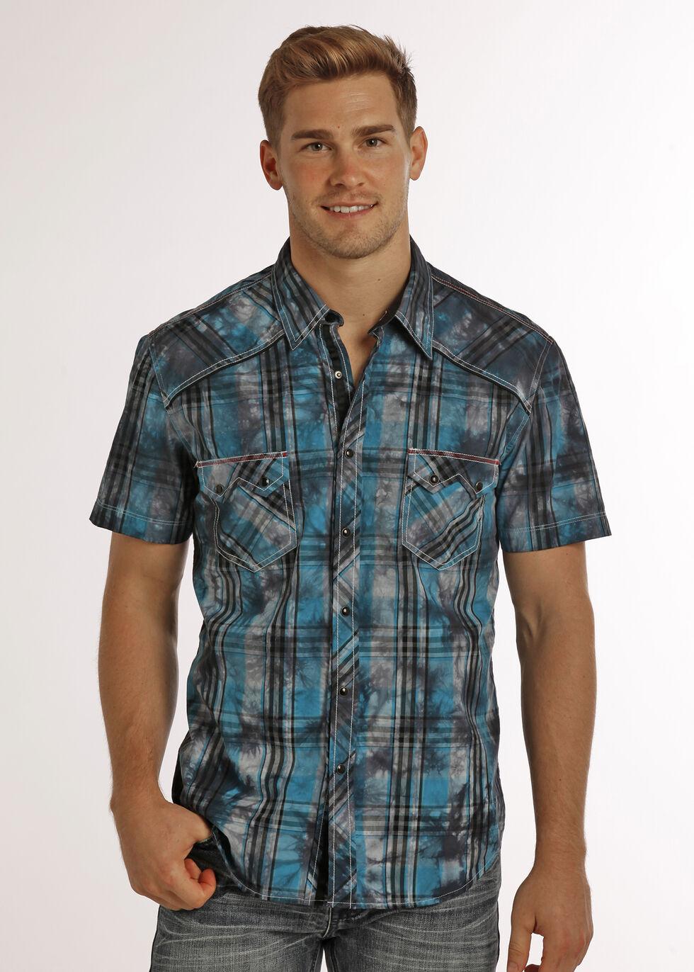 Rock & Roll Cowboy Men's Black Spray Wash Plaid Shirt , , hi-res