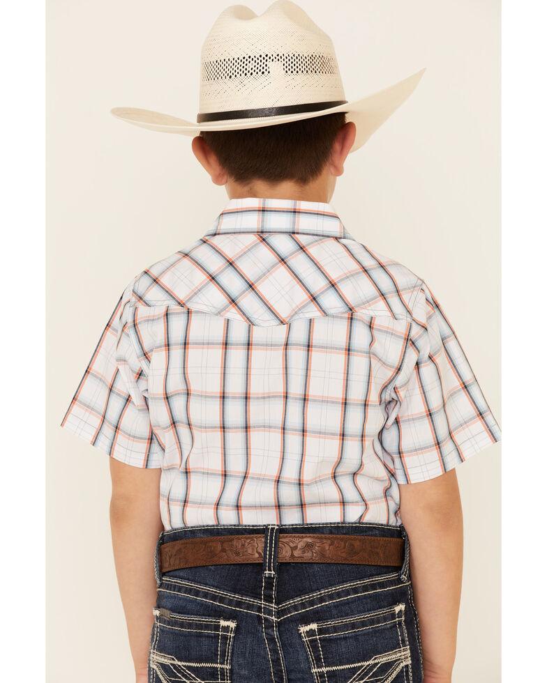 Cody James Boys' Neon Glow Plaid Snap Short Sleeve Western Shirt , White, hi-res