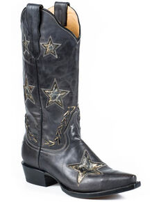Stetson Star Cowgirl Boots - Snip Toe, Black, hi-res