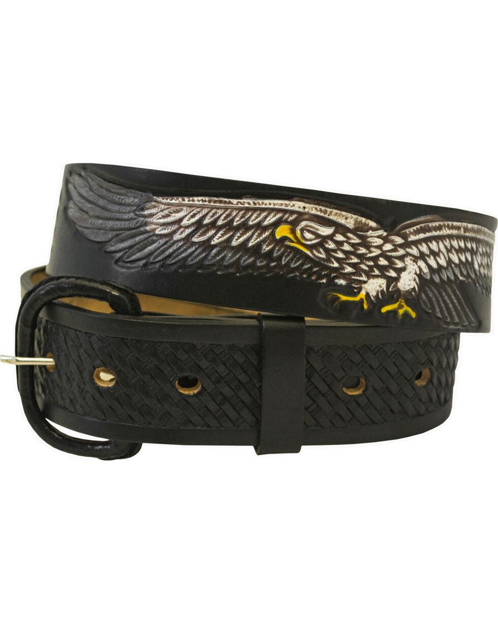 Western Express Men's Leather Eagle Belt , Black, hi-res