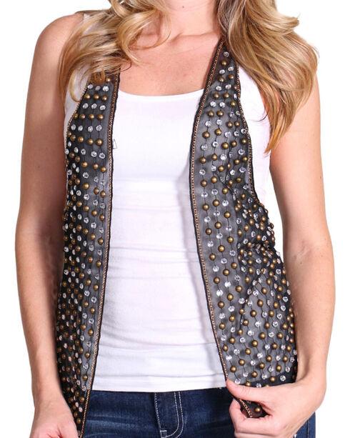 Rock & Roll Cowgirl Women's Studded Rocker Vest , Black, hi-res