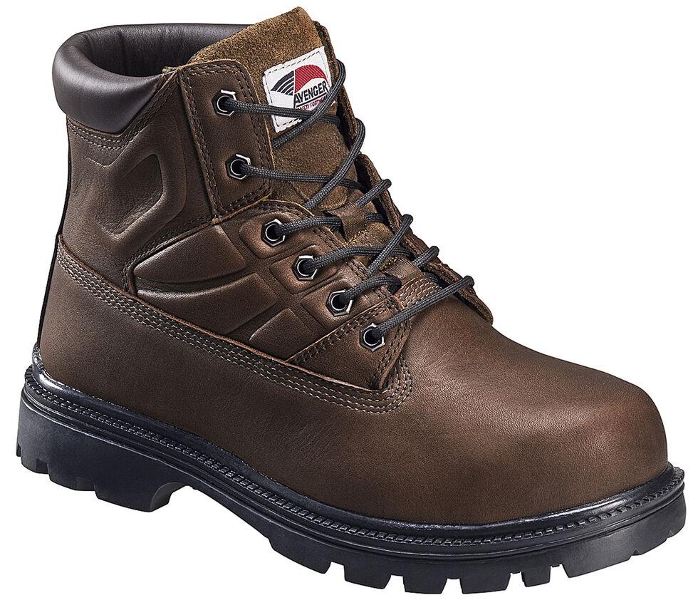 Avenger Men's Brown Work Boots - Steel Toe, Brown, hi-res