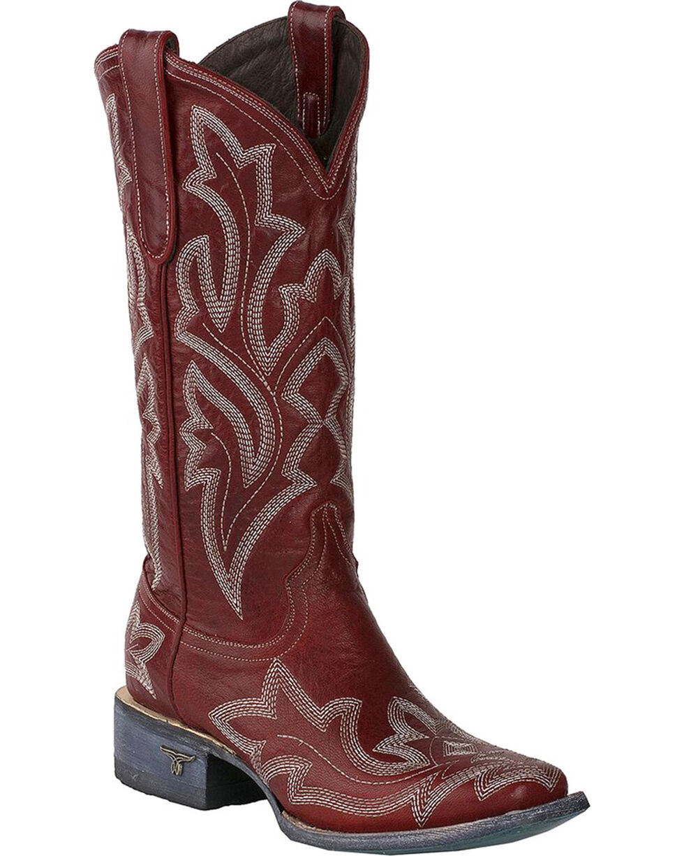 Lane Women's Saratoga Red Fancy Stitch Cowgirl Boots - Square Toe, Red, hi-res