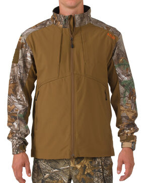 5.11 Tactical Men's Realtree Colorblock Sierra Softshell Jacket, Brown, hi-res