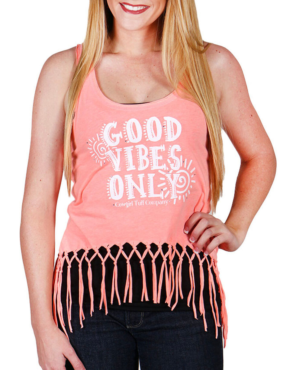 Cowgirl Tuff Women's Light Pink Good Vibes Only Tank Top , , hi-res