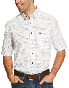 Ariat Men's White Short Sleeve Drew Print Shirt, White, hi-res