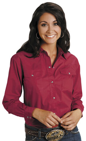 Roper Women's Amarillo Solid Pearl Snap Western Shirt, Red, hi-res