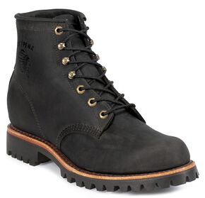"Chippewa Men's Black Odessa 6"" Lace-Up Work Boots - Round Toe, Black, hi-res"