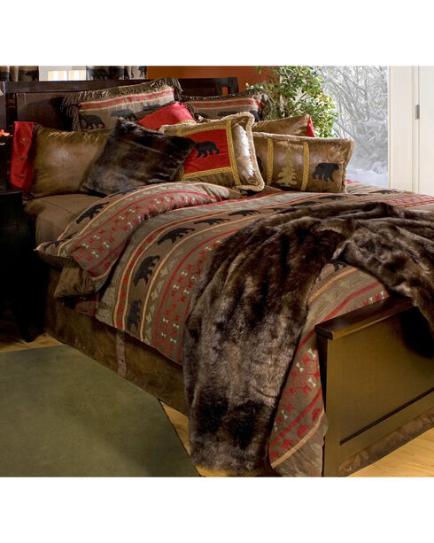 Carstens Bear Country King Bedding - 5 Piece Set, Red, hi-res