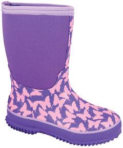 Smoky Mountain Girls' Butterfly Waterproof Boots, Purple, hi-res