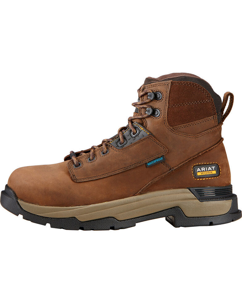 "Ariat Mastergrip 6"" H2O Work Boots - Composite Toe, Brown, hi-res"