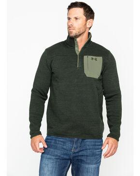 Under Armour Men's Green Solid Specialist Henley Fleece Long Sleeve Shirt , Green, hi-res