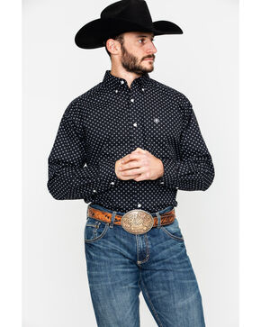 Ariat Men's Elwood Geo Print Long Sleeve Western Shirt , Black, hi-res