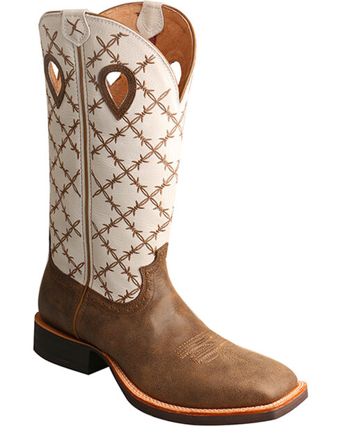 """Twisted X Men's 14"""" Ruff Stock Boots - Square Toe, Brown, hi-res"""