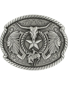Nocona Men's Western Trifecta Belt Buckle, Silver, hi-res
