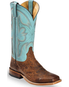 Tony Lama Men's Honey Blue Cabra Foot Cowboy Boots - Square Toe, Honey, hi-res