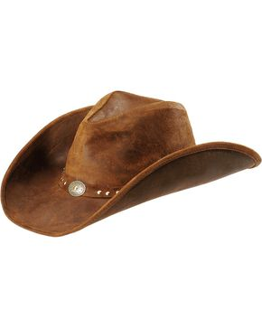 Minnetonka Leather Outback Hat, Brown, hi-res