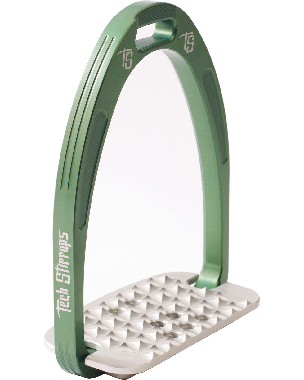 Tech Stirrups Green Iris Cross Country Irons , Green, hi-res