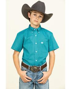 Cinch Boys' Turquoise Geo Print Short Sleeve Western Shirt , Turquoise, hi-res